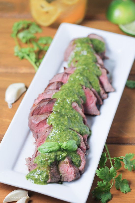 10-Minute London Broil with Preserved Lemon Chimichurri | StrictlyDelicious.com