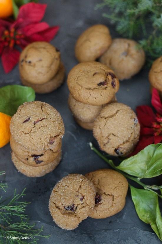 Cranberry Orange Molasses Cookies | StrictlyDelicious.com