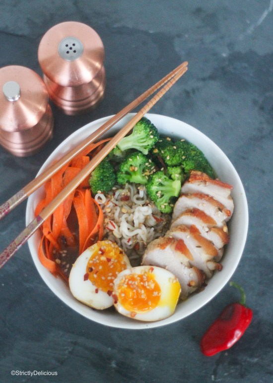 Easy Weeknight Ramen with pork belly, broccoli, and shaved carrot | StrictlyDelicious.com