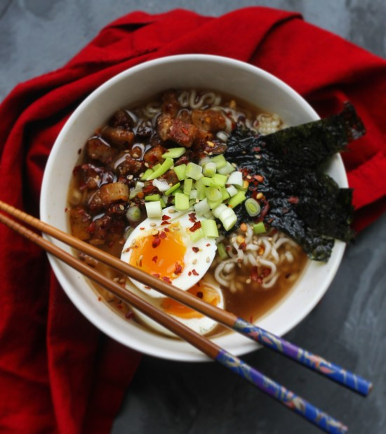 Weeknight Ramen with seaweed and pork belly | StrictlyDelicious.com