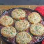 Chili Pot Pie with Cheddar Herb Biscuits | StrictlyDelicious.com