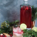 A glass of Cranberry Ginger Infused Gin with ginger beer in front of evergreen branches and fresh cranberries