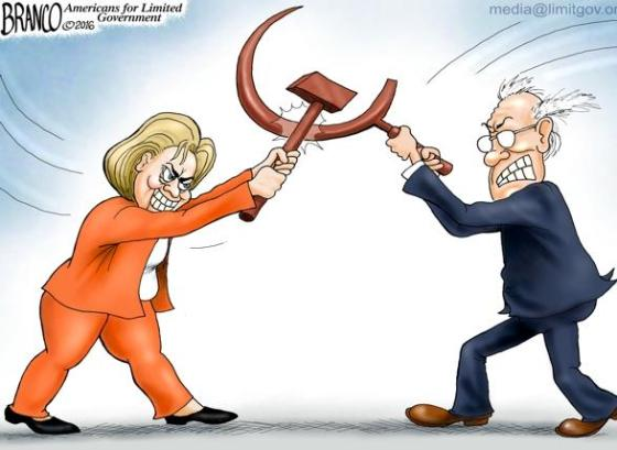 Hillary and Bernie hammer and sickle
