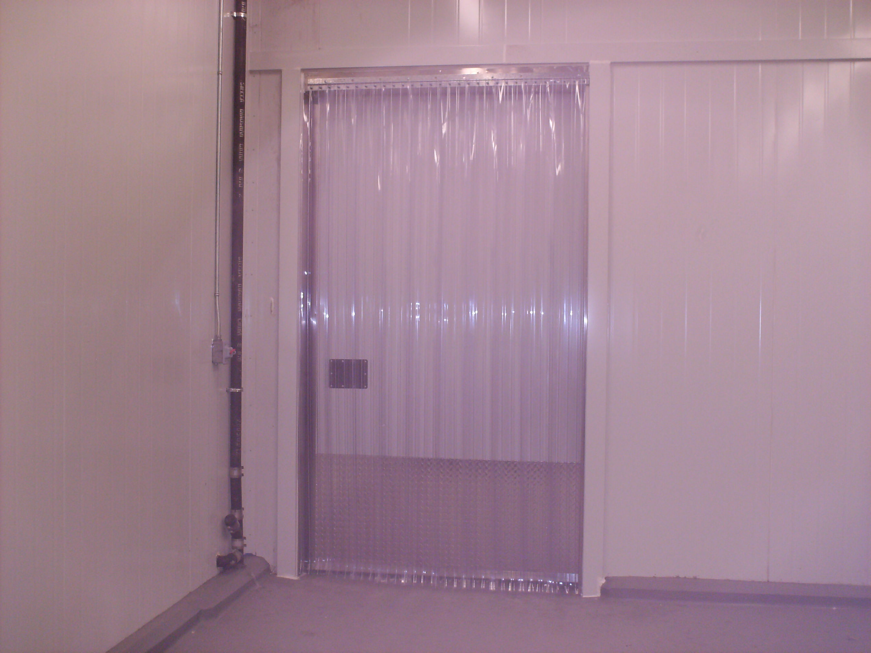 Vinyl Strip Door Curtain 48 X 84  CoolerFreezer Ribbed  Heavy Duty Hardwa