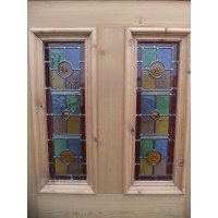 SD071 - Exterior 5 Panel Door With Vibrant Stained Glass ...