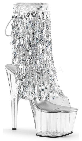 Silver Sequin Fringe 7 Inch Stiletto Heel Ankle Boot Open