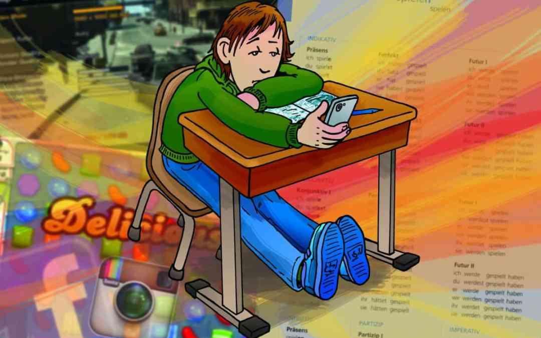 Illustratie Schooljournaal tieners op de middelbare school