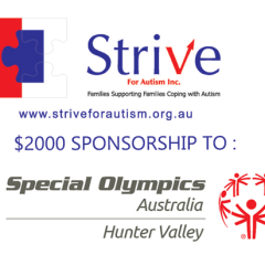 Strive For Autism Sponsors SPECIAL OLYMPICS HUNTER VALLEY REGION