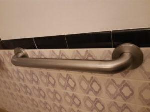 A wall-fixed grab rail