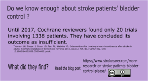 Cochrane review on interventions for urinary incontinence after a stroke