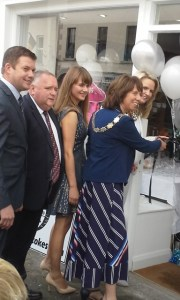 Orla Leydon cuts the ribbon to open Luna in Strokestown today