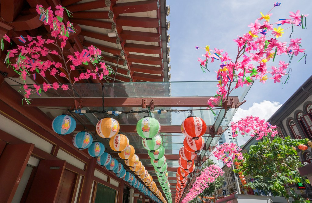 Colourful lanterns in Singapore's China town area