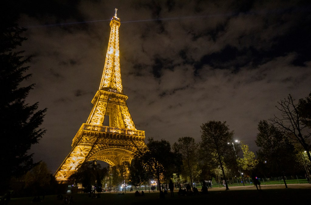 View of Eiffel Tower at night.
