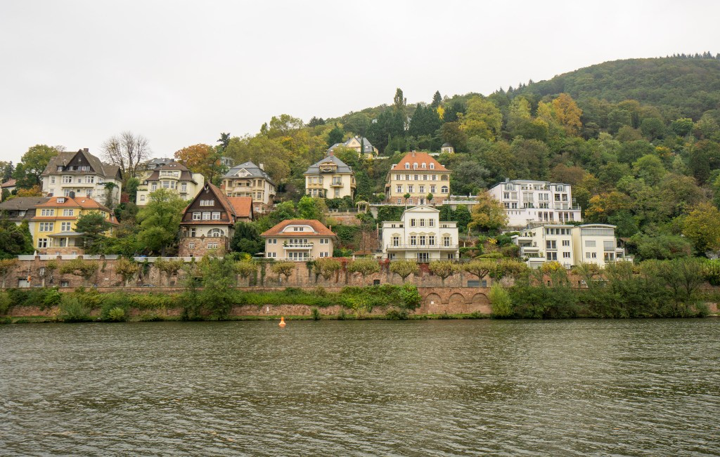 Houses along the Neckar River in Heidelberg Germany