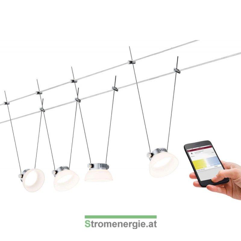 SmartHome BLE IceLED Wire System 4x4W Chrom matt/Weiß 230V/12V