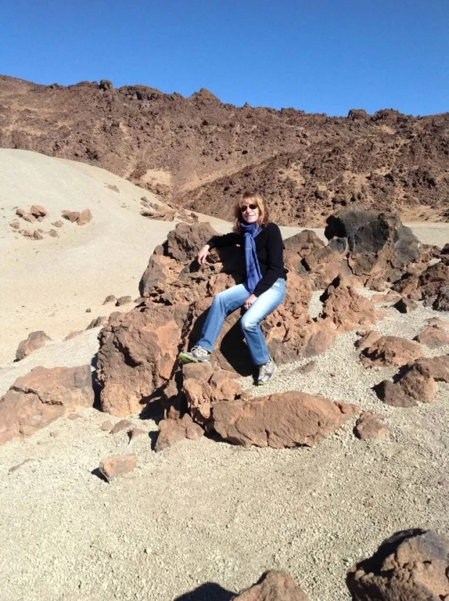 Our student Linda Bruce hiking the mountains of Gran Canary Island--Hollywood movies are filmed here because the terrain looks like the moon.