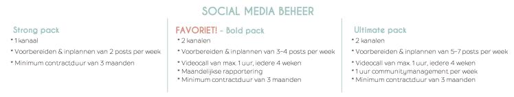 Social media pakketten