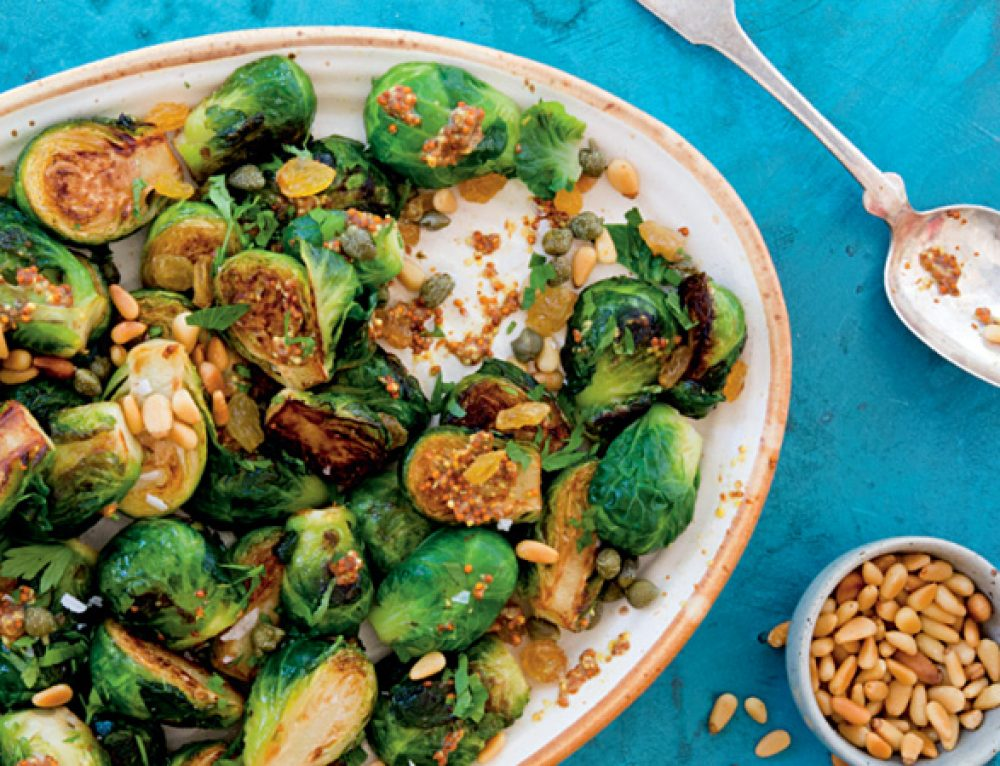 Brussels Sprouts with Capers, Golden Raisins & Pine Nuts