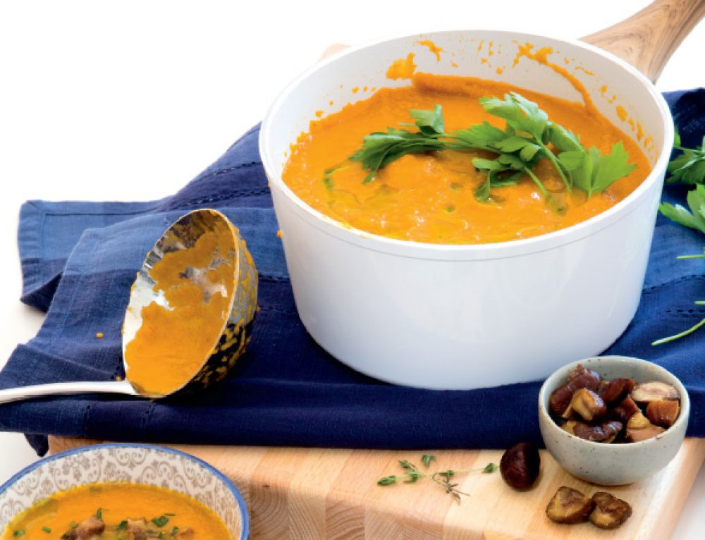 Roasted Pumpkin Soup with Honey Roasted Chestnuts and Herb Oil