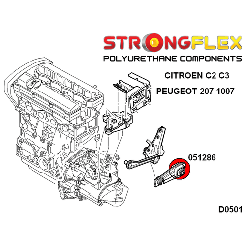 Citroen C2 C3 Peugeot 1007 Engine mount rear lower inserts