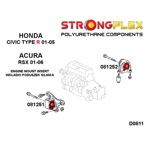 Engine rear mount inserts for Acura RSX Honda Civic VII