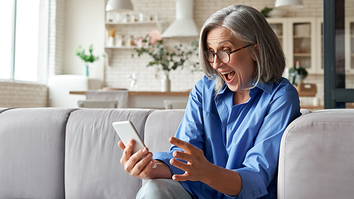 mature home buyer learns her offer has been selected by the seller