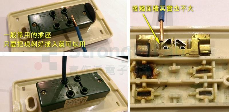 一般插座只需將銅線插入就能使用