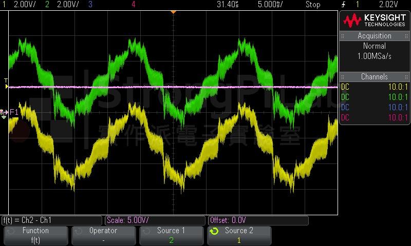 無變壓器電源的測量波形
