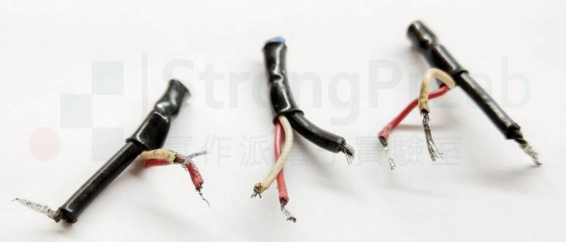 故障的聲音傳輸線,剪下之後重新剝線焊接