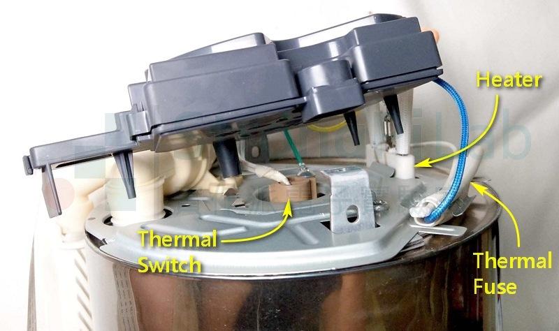 熱水瓶 的加熱器、溫度開關以及溫度保險絲