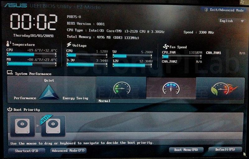 打開電源後順利進入UEFI BIOS