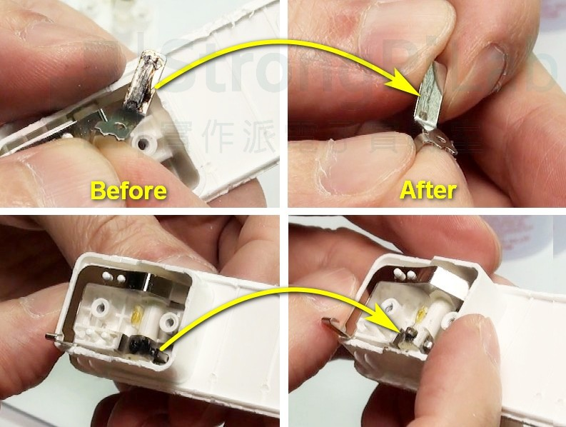 用銅油把 USB充電器 的簧片汙垢擦掉