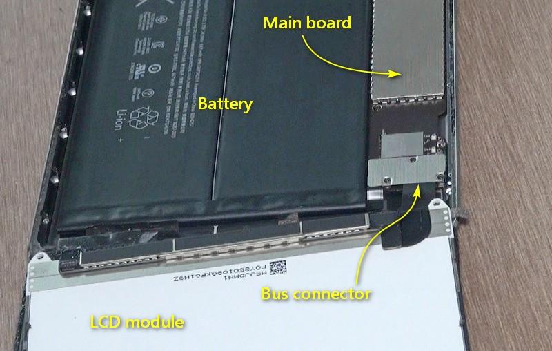 LCD排線接頭被小鐵片蓋住