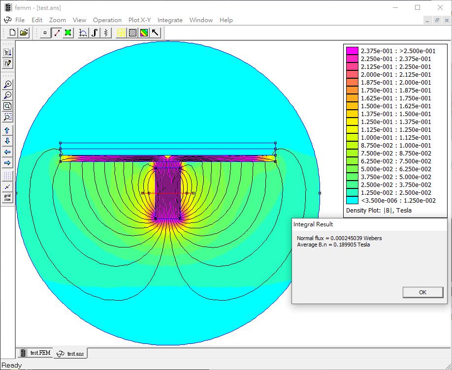 FEMM模擬 單線圈 琴弦下壓時的磁場