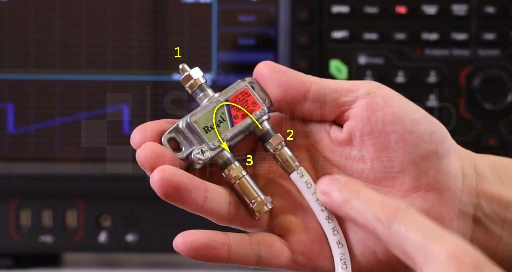 分配器 隔離度量測從Port2輸入訊號