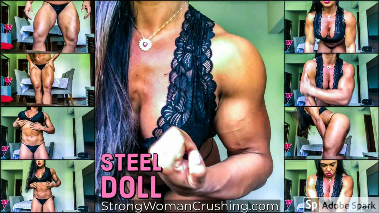 Steel Doll posing with oil