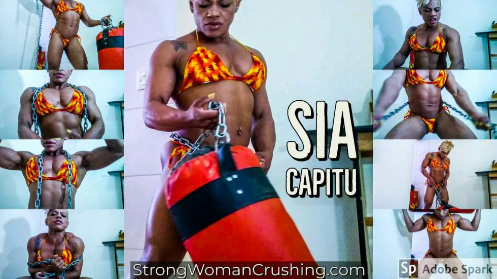Sia Capitu toying with a  boxing bag