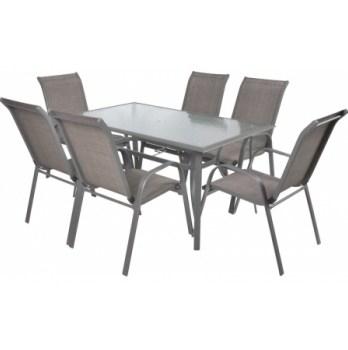 Masa Hecht Sofia cu 6 scaune schelet metalic
