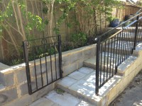 Patio railings down steps with gate. | Stroud Railings