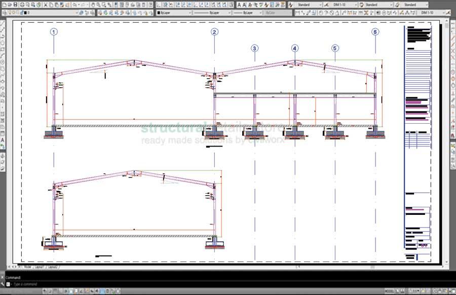Steel Frame Hangar Complete Design Drawings