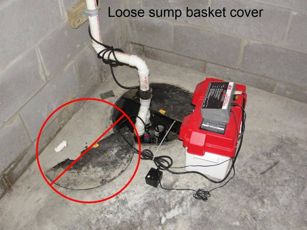 medium resolution of a loose or missing sump basket cover