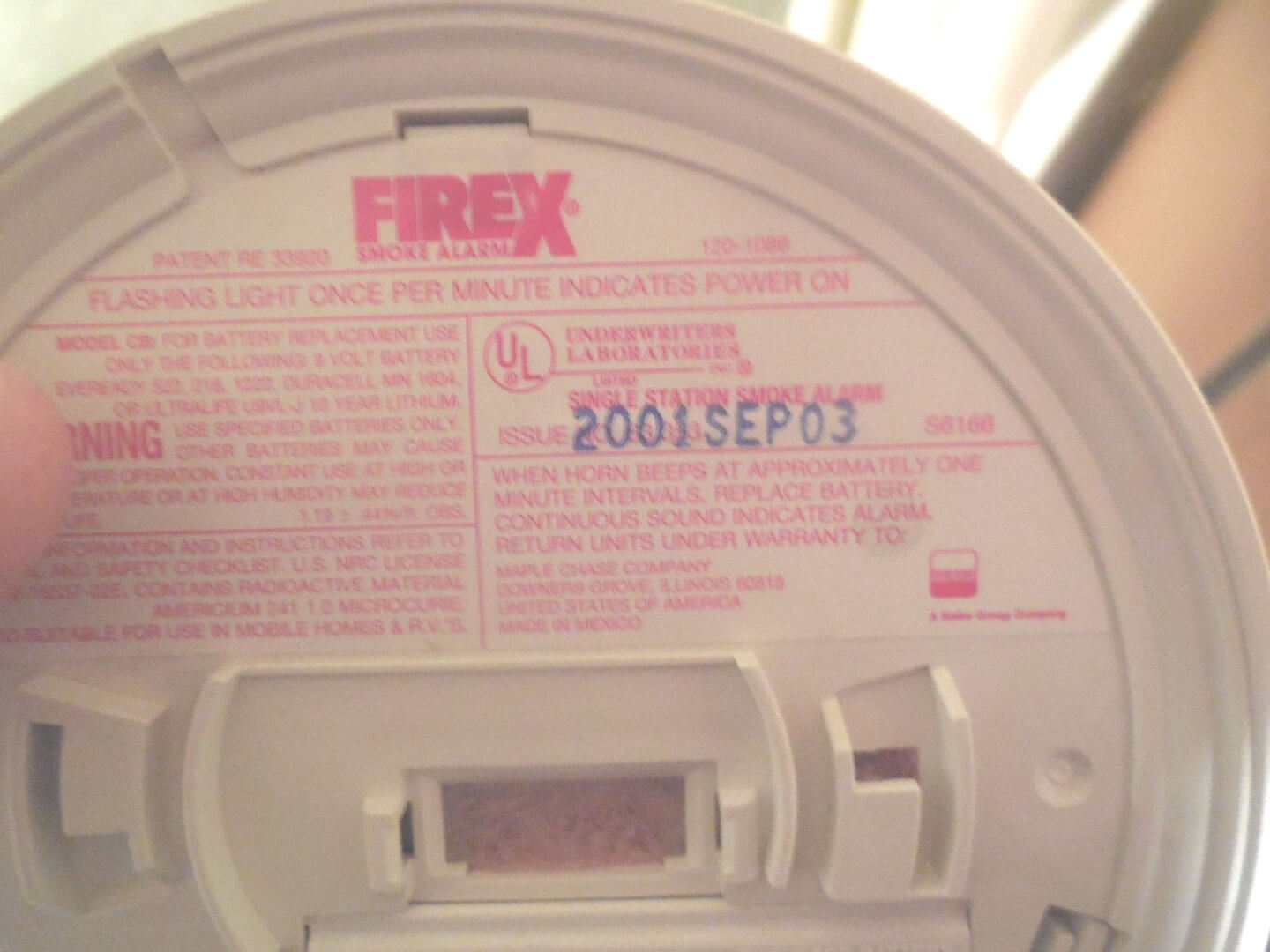 hight resolution of smoke alarm date code