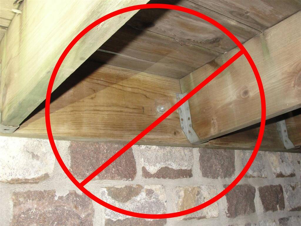 hight resolution of no deck attachment through stone veneer