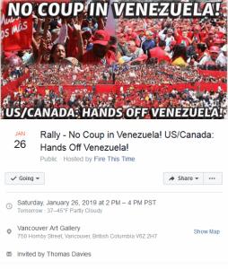Vancouver: U.S./Canada hands off Venezuela!