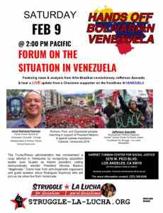 Los Angeles forum on Venezuela, Feb. 9