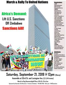 March & Rally: Lift sanctions on Zimbabwe! Sat., Sept. 21