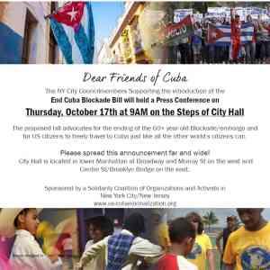 Oct. 17 NYC: End Cuba Blockade Bill at City Hall