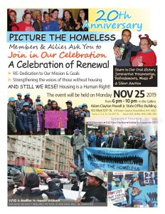 NYC Nov. 25: Picture The Homeless 20th Anniversary