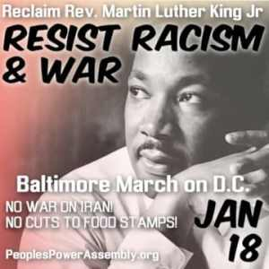 Stop war on Iran. Baltimore march to Washington, D.C., Jan. 18
