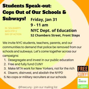 NYC Students Speak-Out Jan. 31: Cops Out of Our Schools & Subways